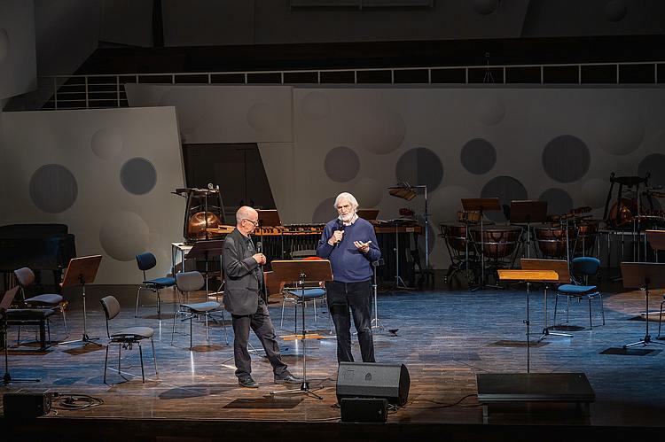 Gesprächskonzert mit Helmut Lachenmann (r.) Prof. Dr. Jörn-Peter Hiekel/Foto: Marcus Lieder