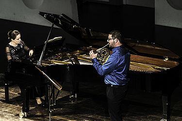 Hornist und Korrepetitorin im Konzert/Foto: Marcus Lieder