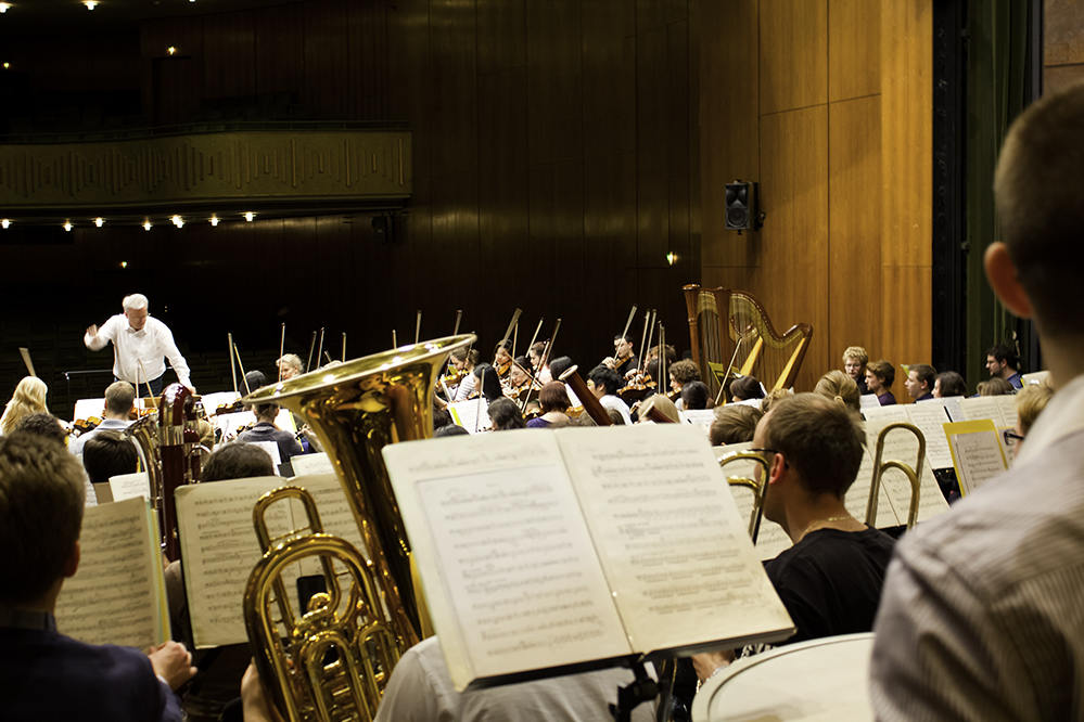 Probe des Hochschulsinfonieorchesters in der Stadthalle Bayreuth/Foto: Christian Hoffmann