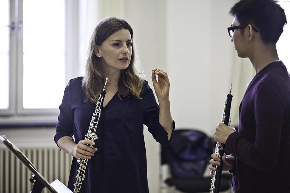 Meisterkurs Oboe bei Prof. Céline Moinet/Foto: Marius Leicht