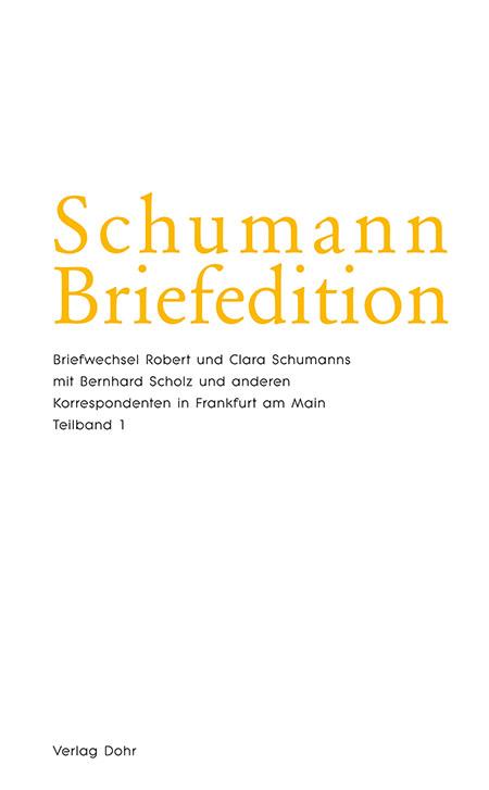 Cover Schumann Briefeditionen/Foto:Dohr-Verlag