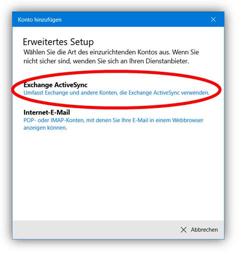 1.6 - Wählen Sie Exchange ActiveSync