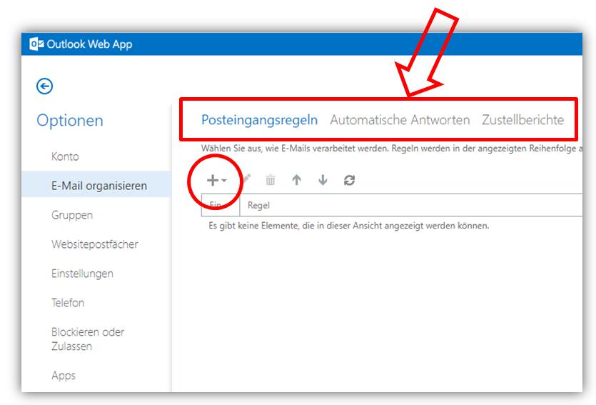 1.2.3 - Optionen / E-Mail Organisieren (Abwesenheitsmitteilung/Urlaub einstellen)